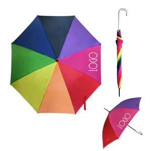 Rainbow Umbrella Sleek Stick Umbrella w/ Hook Handle (46